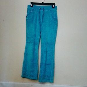 Blue Crushed Velvet Wide Leg Sweatpants